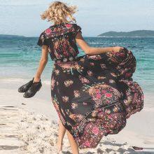 DeRuiLaDy 2019 New Women Summer Boho Beach Maxi Dress Sexy V Neck Vintage Print Long Dresses Casual Sundress Dress vestidos