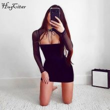 Hugcitar long sleeve mesh see-through paychwork bodycon sexy lace up dress 2018 women solid high neck bandage fashion dress
