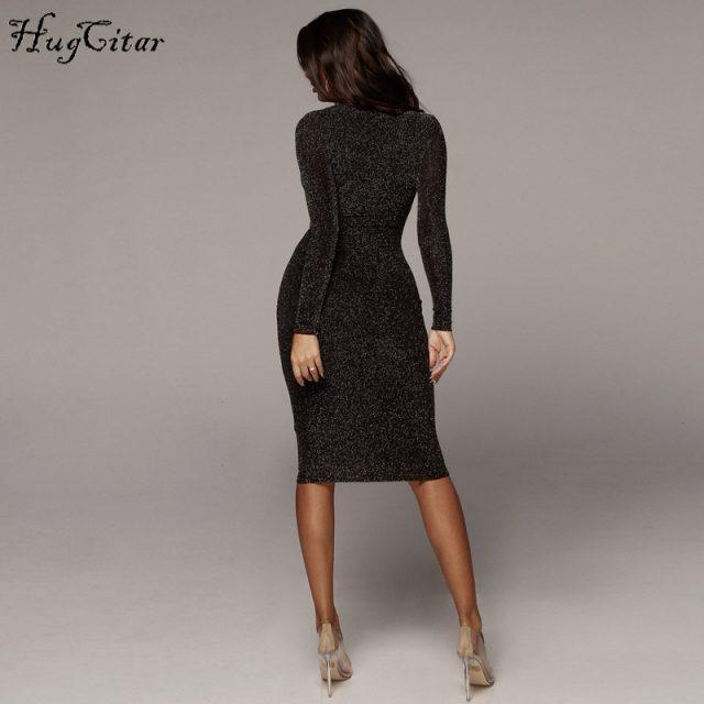 Hugcitar long sleeve high waist reflective sexy slim dress 2018 autumn winter women fashion Christmas party dress