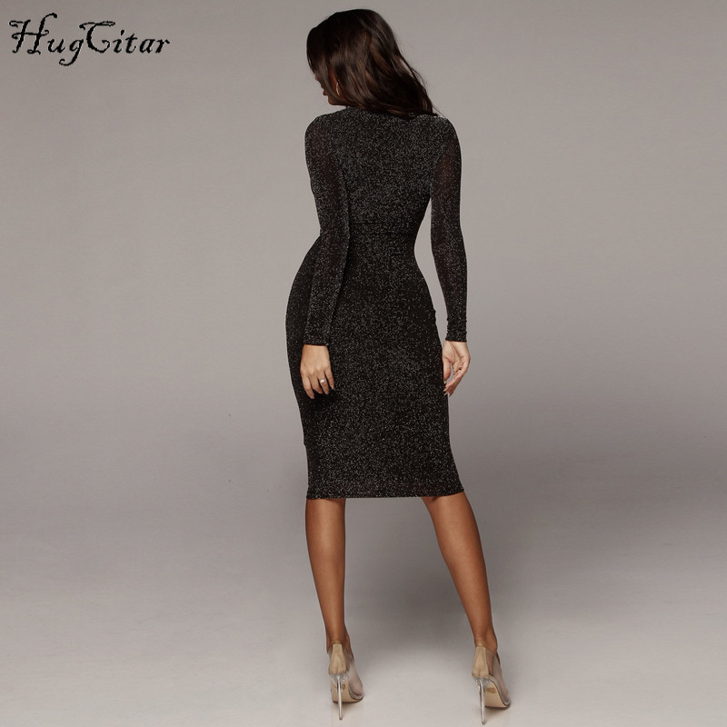Hugcitar long sleeve high waist reflective sexy slim dress 2018 autumn winter women fashion Christmas party dress