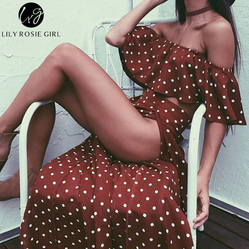 Lily Rosie Girl Women Off Shoulder Red Vintage Dot Long Dress Summer Maxi Dress Chiffon Ruffle Sexy Beach Dresses Vestidos