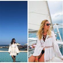 Cotton Tunic Beach Dress 2019 White Mini Dress Plus Size Bohemian Style Dresses Sexy Women Summer Dresses Vestidos #N429