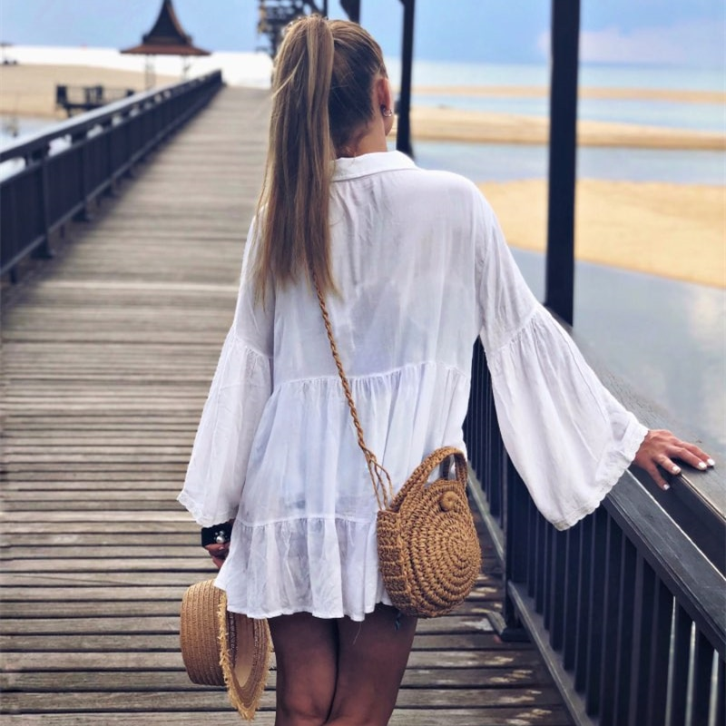 Cotton Tunic Beach Dress 2019 White Mini Dress Plus Size Bohemian Style Dresses Sexy Women Summer Dresses Vestidos #N429