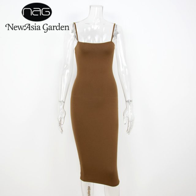 NewAsia Garden Double Layers Cotton Bodycon Dress Women Summer Dress Midi Tight Party Long Dress Sexy Club Slip Dresses Vestido