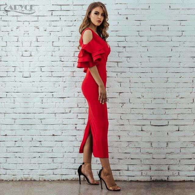 Adyce New Summer Women Club Dress Vestidos Verano 2019 Celebrity Party Dress Yellow Red Ruffle Butterfly Short Sleeve Midi Dress