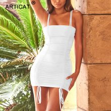 Articat Spaghetti Strap Sexy Backless Women Summer Dress 2018 Strapless Bodycon Bandage Party Dresses Vestidos Club Mini Dress