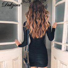 Dulzura women sexy bodycon mini dress 2018 autumn winter clothes long sleeve high neck smocking party dresses
