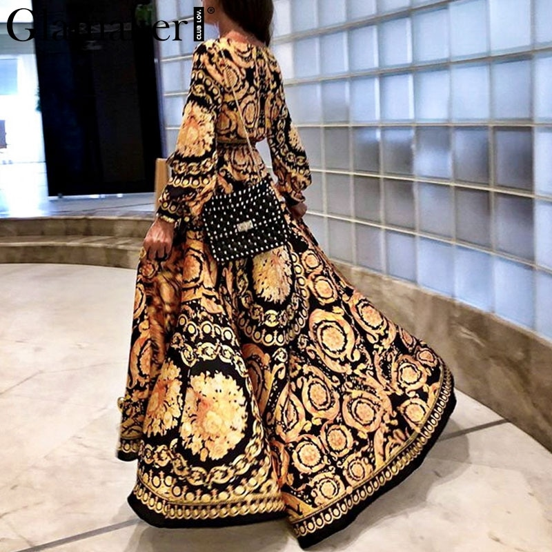 Glamaker Vintage split sexy boho dress Women summer elegant print maxi dress long sleeve paisley 2019 long robe party club dress