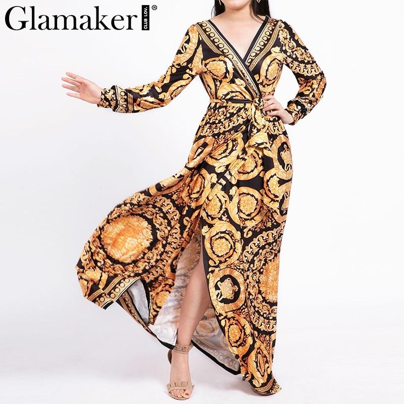 Glamaker Vintage split sexy boho dress Women summer elegant print maxi dress long sleeve paisley 2019 long robe party club dress