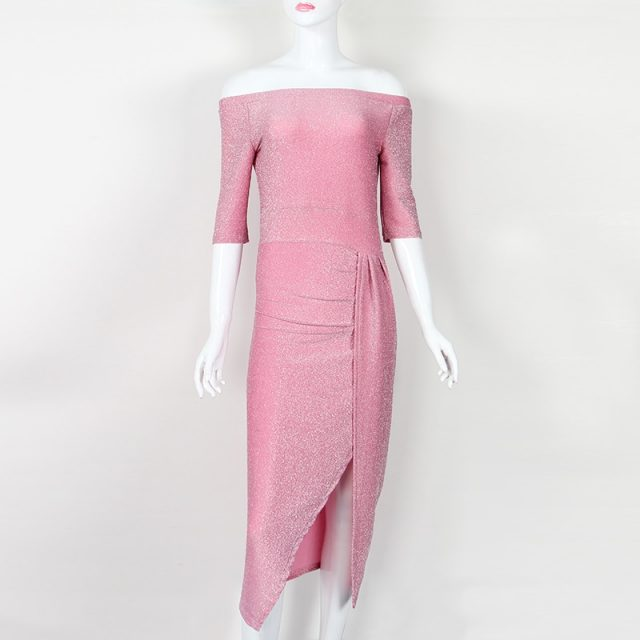 Spring Autumn Party Dress Irregular Split Slash Sexy Dress Elegant Package Hip Midi Dress Winter Women Dress Robe Club New M0160