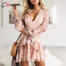 Conmoto Vintage Print Summer Dresses Female Elegant Party Short Dress Bow Sexy Ruffles Chiffon Dress Women Vestidos 2 Colors