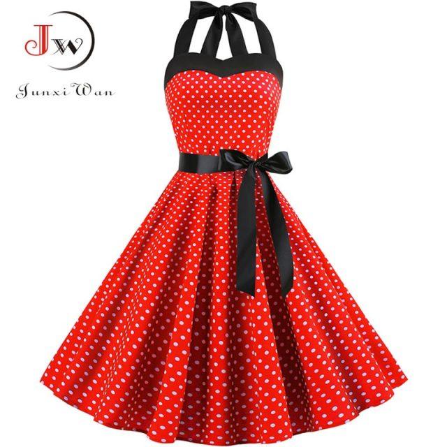 Sexy Halter Party Dress 2018 Retro Polka Dot Hepburn Vintage 50s 60s Pin Up Rockabilly Dresses Robe Plus Size Elegant Midi Dress