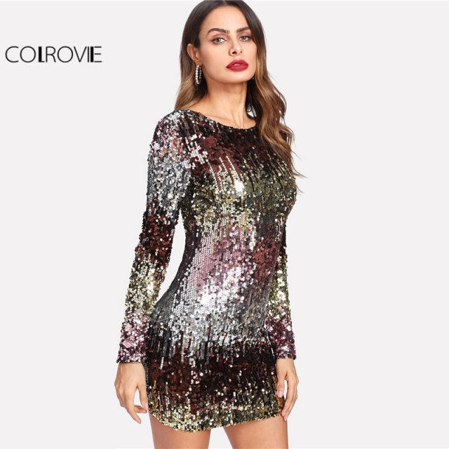 COLROVIE Iridescent Sequin Dress Round Neck Long Sleeve Sexy Party Dress With Zipper Women Clothing Sheath Autumn Short Dress