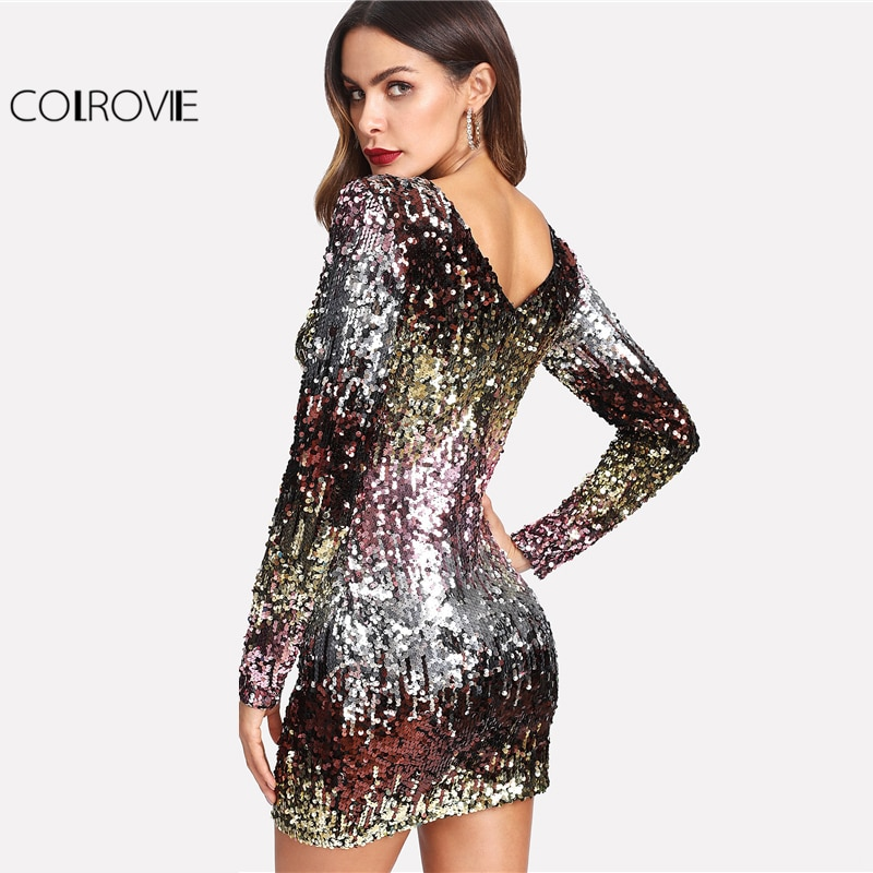 COLROVIE Iridescent Sequin Dress Round Neck Long Sleeve Sexy Party Dress With Zipper Women Clothing Sheath Autumn Short Dress