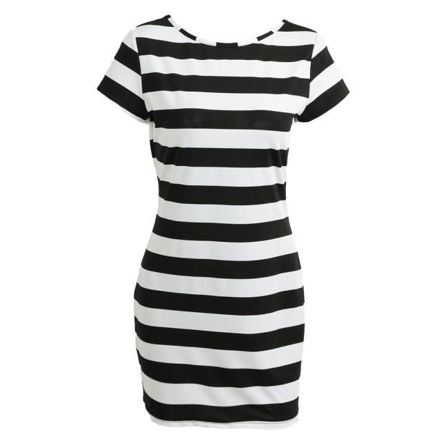 Plus Size Women K-pop Dress Korean Cut Out Tie Bow Backless Short Sleeve Striped Summer Dress Mini Bandage Sexy Casual Dress