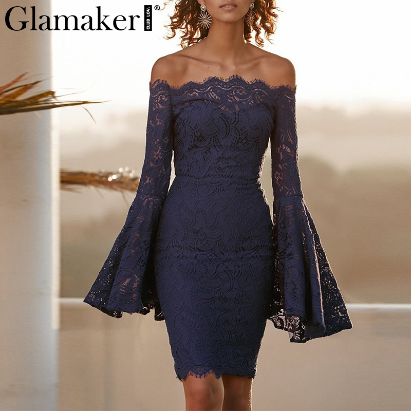 Glamaker Off shoulder sexy lace women dress robe Flare sleeve bodycon summer dress Evening party elegant dress vestido de festa
