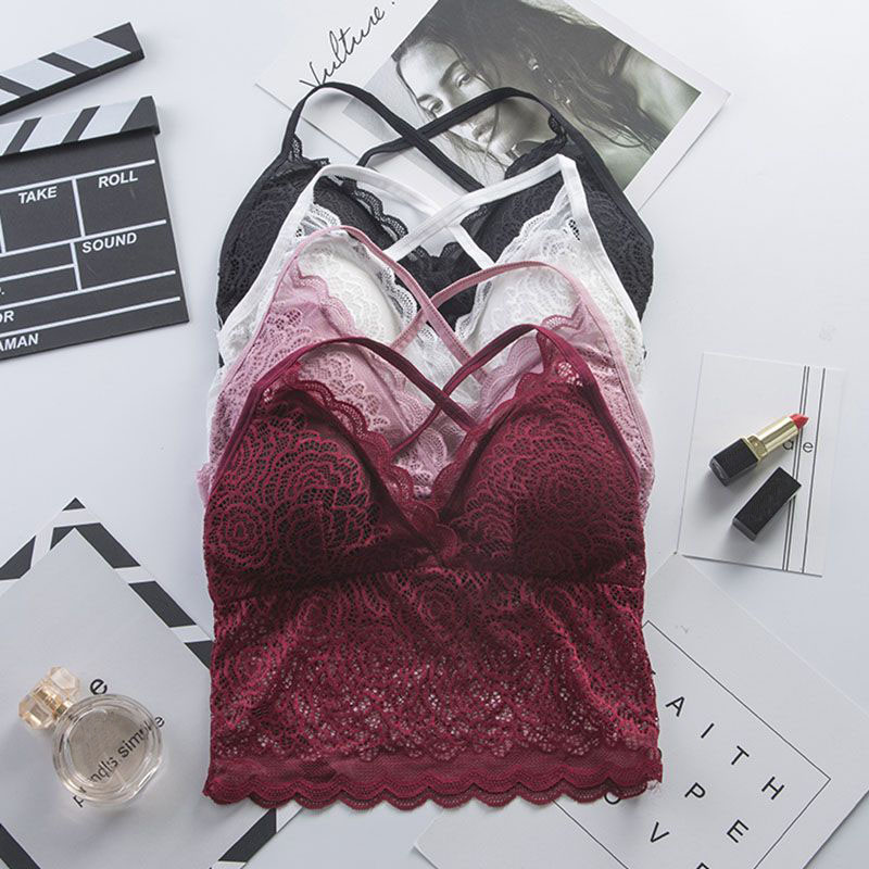 Free Ship! Beautiful Back Women's Wireless Lace Tube Tops Bra Soft Brassiere Underwear Lingerie