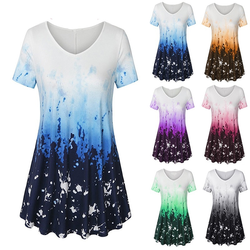 5XL Large Size Summer 2019 New Women T-shirt Short Sleeve V-Neck Printed Casual Shirt Plus Size Women Clothing Fashion Sexy Tops