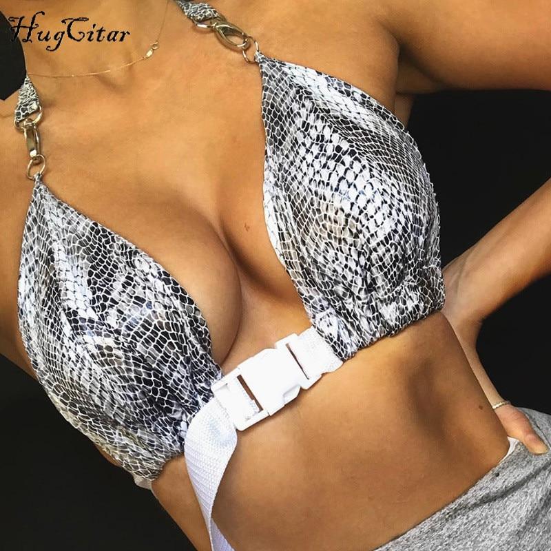 Hugcitar deep v-neck backless sexy bandage lace up crop tops 2018 summer women fashion camis