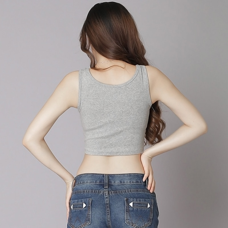 2019 Summer Slim Render Short Top Sexy Women Sleeveless U Croptops Tank Tops Solid Black White Grey Crop Tops Vest Tube Top