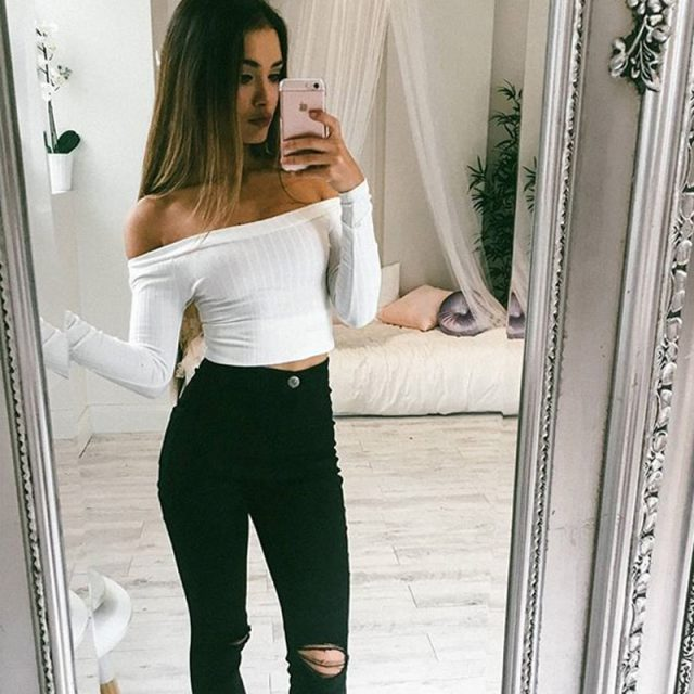 Sexy Slash Neck Long Sleeve Knitting Cotton T Shirt For Women 2019 Off Shoulder Short Slim Spring White T-Shirts Street Crop Top
