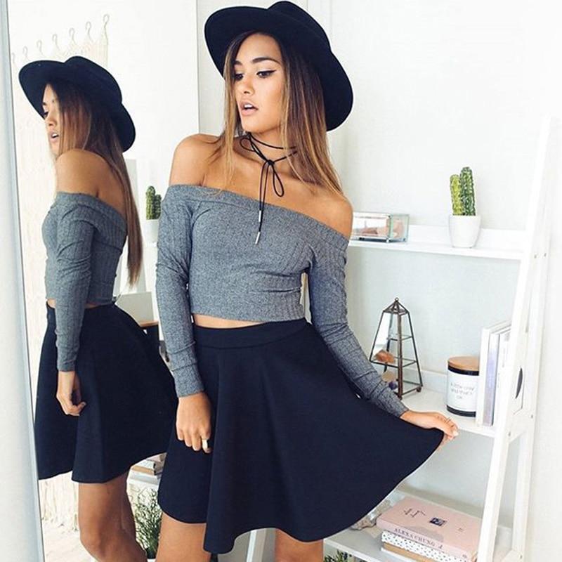 Sexy Slash Neck Long Sleeve Knitting Cotton T Shirt For Women 2019 Off Shoulder Short Slim Spring White T-Shirts Street Crop Top