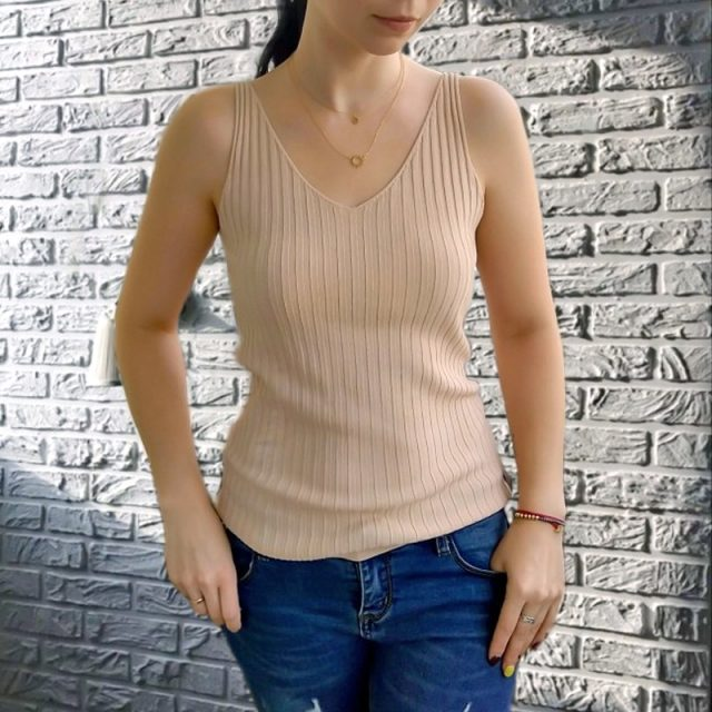 GOPLUS Spring Sleeveless V-Neck Sexy Knitted Tank Top Women Fashion Cotton Elastic Camis Female Vest Casual T-shirt Camisole