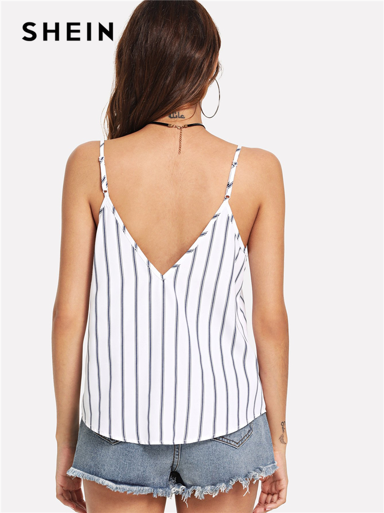 SHEIN Multicolor Weekend Casual Backless Double Deep V-Neck Striped Cami Top Summer Women Going Out Sexy Vest