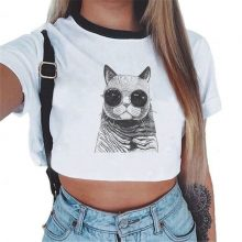 Summer fashion Harajuku Sexy tank Crop Top White T Shirt Clothes Women Cute mouse printed Croptop Short sleeve