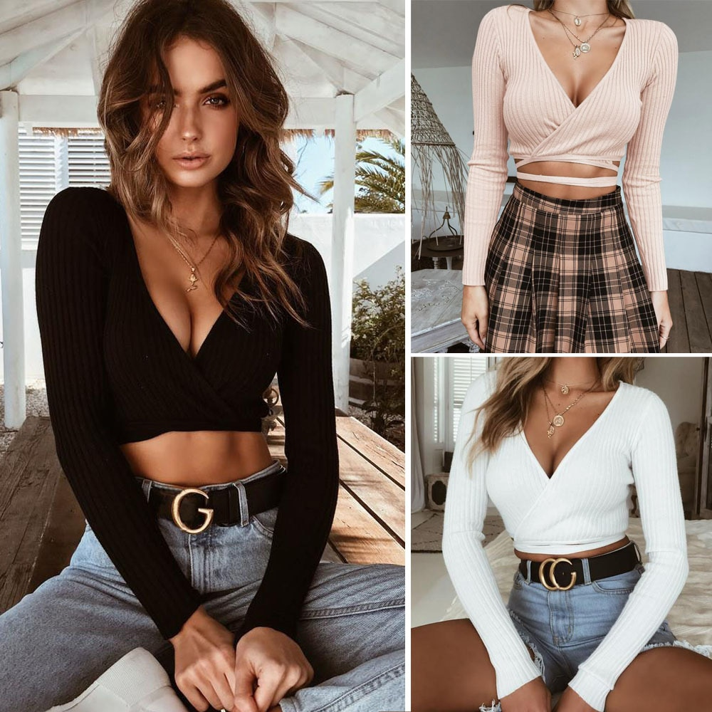 Lossky Autumn Women's T-shirt 2018 Sexy Deep V-neck Exposed Navel Straps Long-sleeved Black T Shirt Women's Knitting Top T Shirt