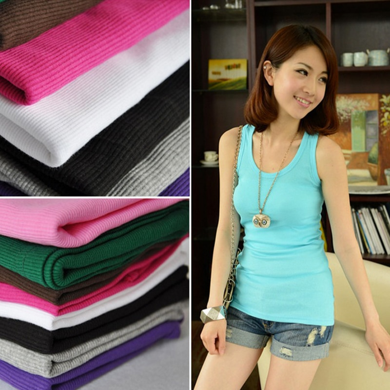 New Solid Slim Women tank Tops Summer Sleeveless Jersey Cotton Tanks Camis Tees For Woman Sexy Top White Black Multicolor Vest