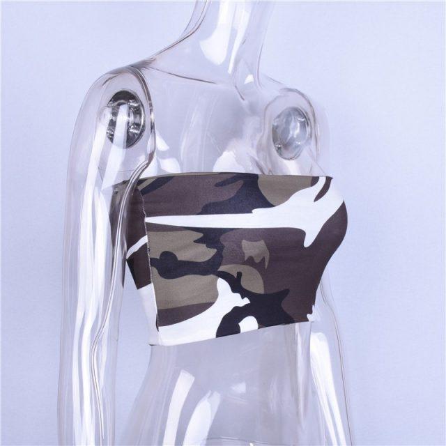 Hugcitar Camouflage crop top 2018 women fashion female casual summer tank tops