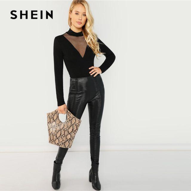 SHEIN Black Mesh Insert Mock Neck Tee Elegant Long Sleeve Stretchy Slim Fit Tops Women Autumn Stand Collar Workwear T-shirt