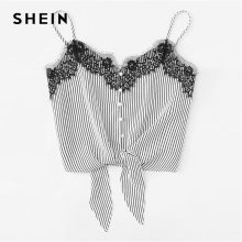 SHEIN Lace Knot Front Striped Cami Top Women New Asymmetrical Spaghetti Strap Button Crop Top Vest 2018 Summer Sexy Vest