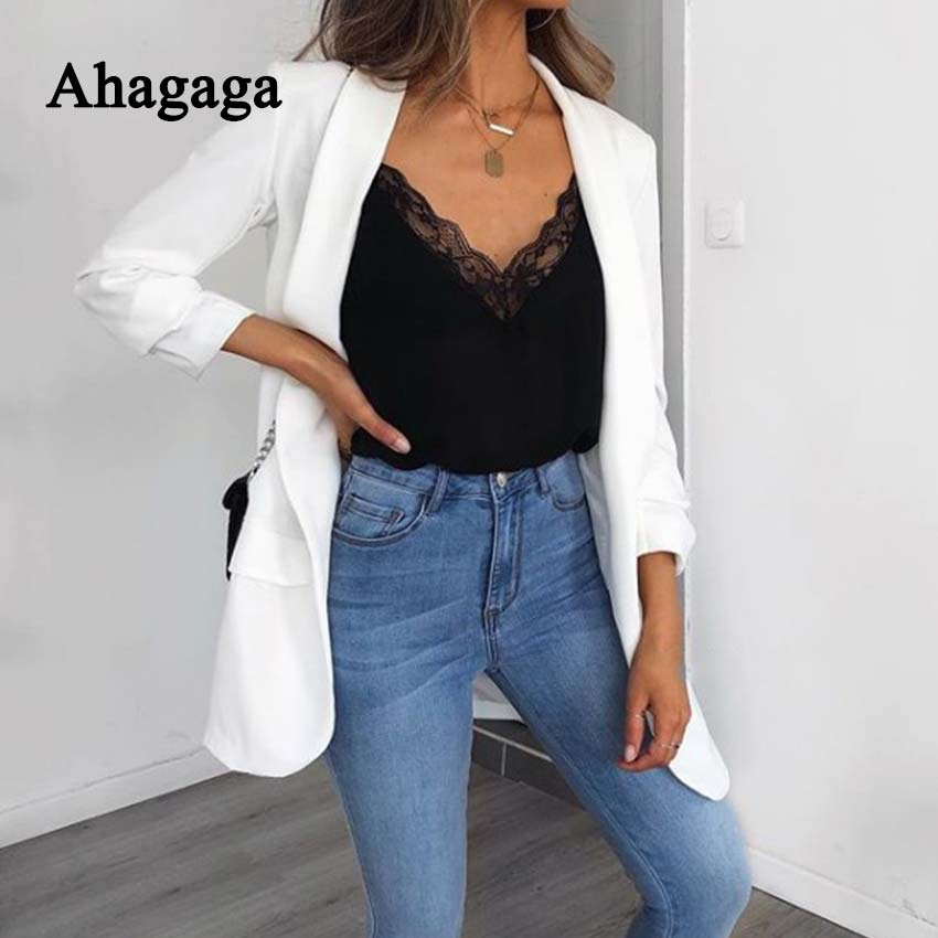 Ahagaga 2019 Spring Sexy Lace Camis Women Tops Fashion Solid White Black Hollow Out Regular Short Camis Women Blusas Female Tops