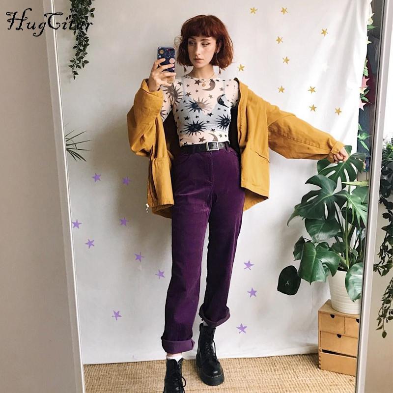 Hugcitar mesh see-through O-neck print sexy crop tops 2019 spring women new arrival fashion sun moon print club party T-shirts