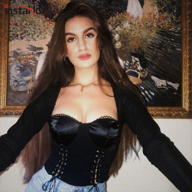 InstaHot Black Gothic Vintage Square Neck T Shirt Women Lace Up Low Cut Long Sleeve Crop Tops Elastic 2018 Autumn Tie Up Clothes