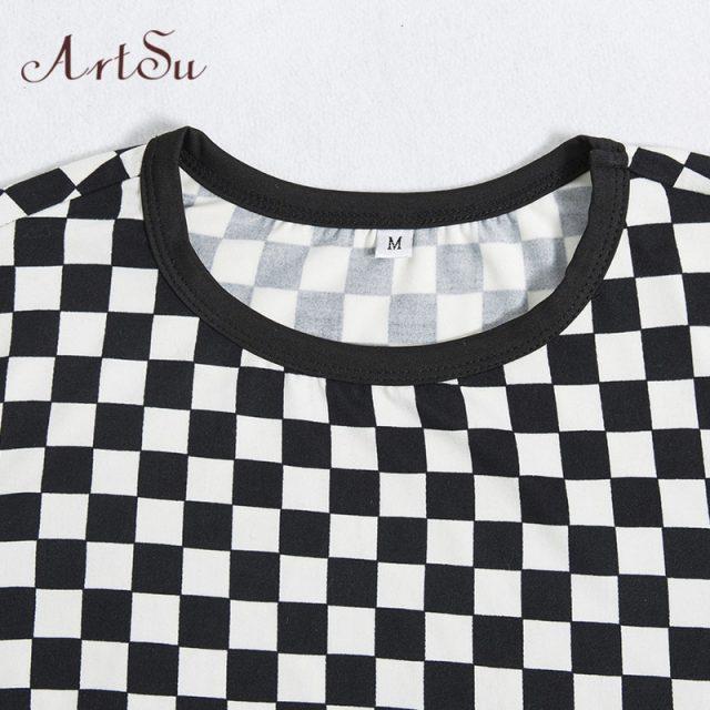 ArtSu T shirts Women 2019 Summer Plaid Tee Shirt Femme Sexy Short Sleeve Crop Top Funny T-shirt Basic Fitness Clothing ASTS20325