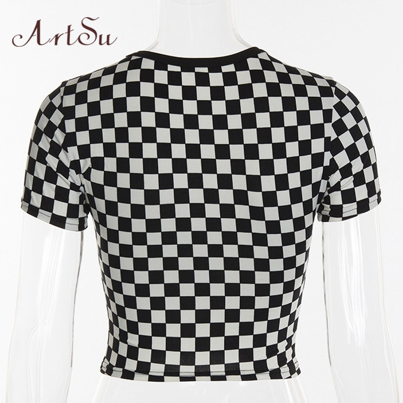 ArtSu T shirts Women 2019 Summer Plaid Tee Shirt Femme Sexy Short Sleeve Crop Top Funny T-shirt Basic Fitness Clothing ASTS20325