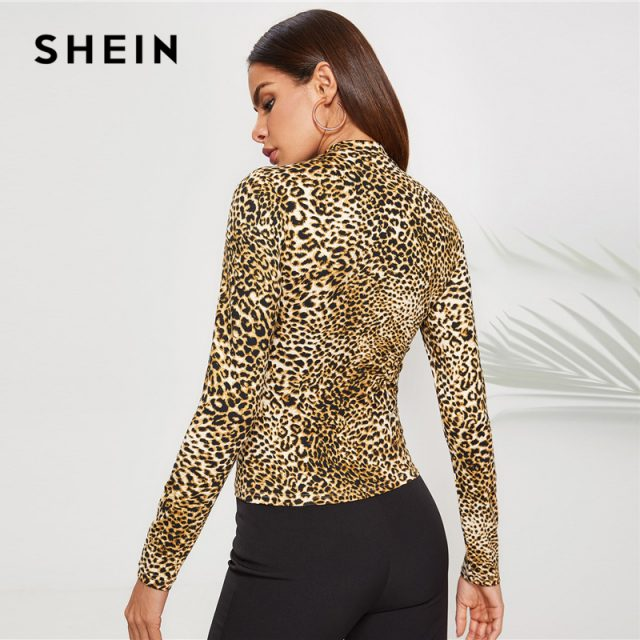 SHEIN Elegant Mock Neck Leopard Tee Long Sleeve Stand Collar Stretchy Tops Women Autumn Highstreet Sexy Slim Fit T-shirts