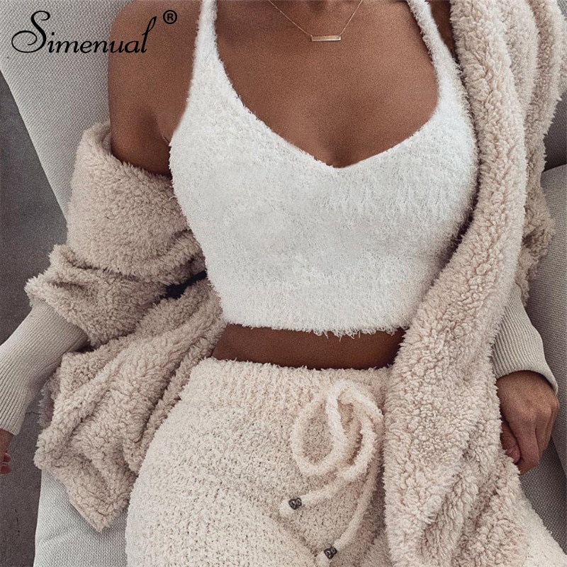 Simenual V neck furry women tank tops white streetwear korean camis sexy casual strap crop tank top 2019 spring summer bustier