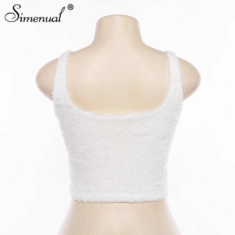 Simenual V neck furry women tank tops white streetwear korean camis sexy casual strap crop tank top 2019 spring summer bustier