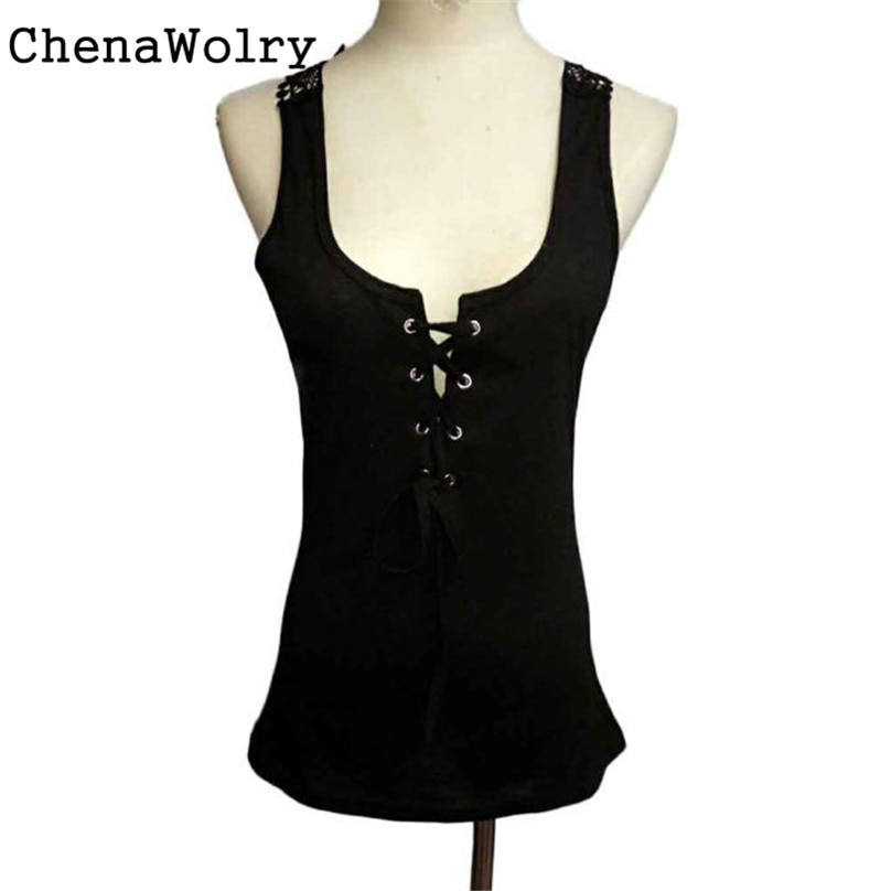 ChenaWolry 2017 New Arrival Fashion Women Bandage Breathable Tank Top Summer Sexy Lace Halter Top Fashion Sleeveless Camisole F