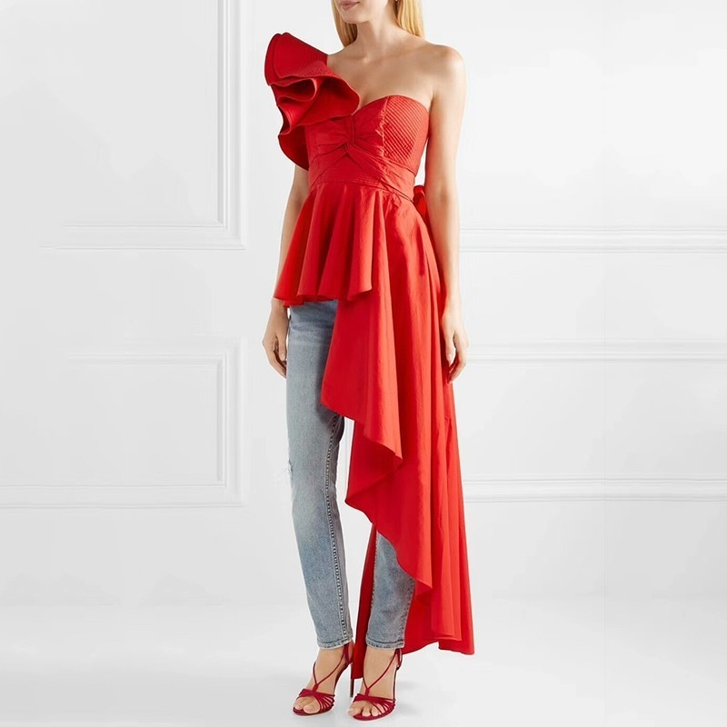 TWOTWINSTYLE Asymmetrical Off Shoulder Women's T-shirts Strapless Lace Up Ruffle T-shirt Tops Female Sexy Fashion 2018 Autumn