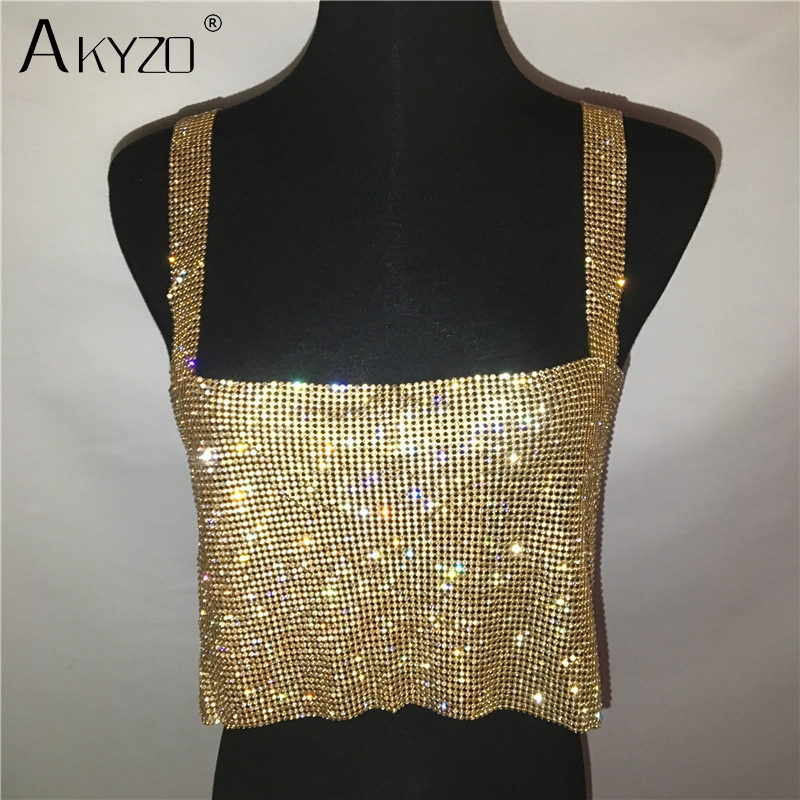 2019 Glitter Nightclub Backless Rhinestone Tank Top Women Sexy Metal Crystal Diamonds Sequined Night Club Party Wear Crop Top