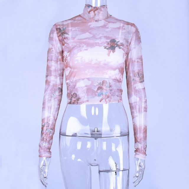 Hugcitar high neck long sleeve mesh see-through sexy crop tops 2018 autumn winter women fashion print Christmas party T-shirts