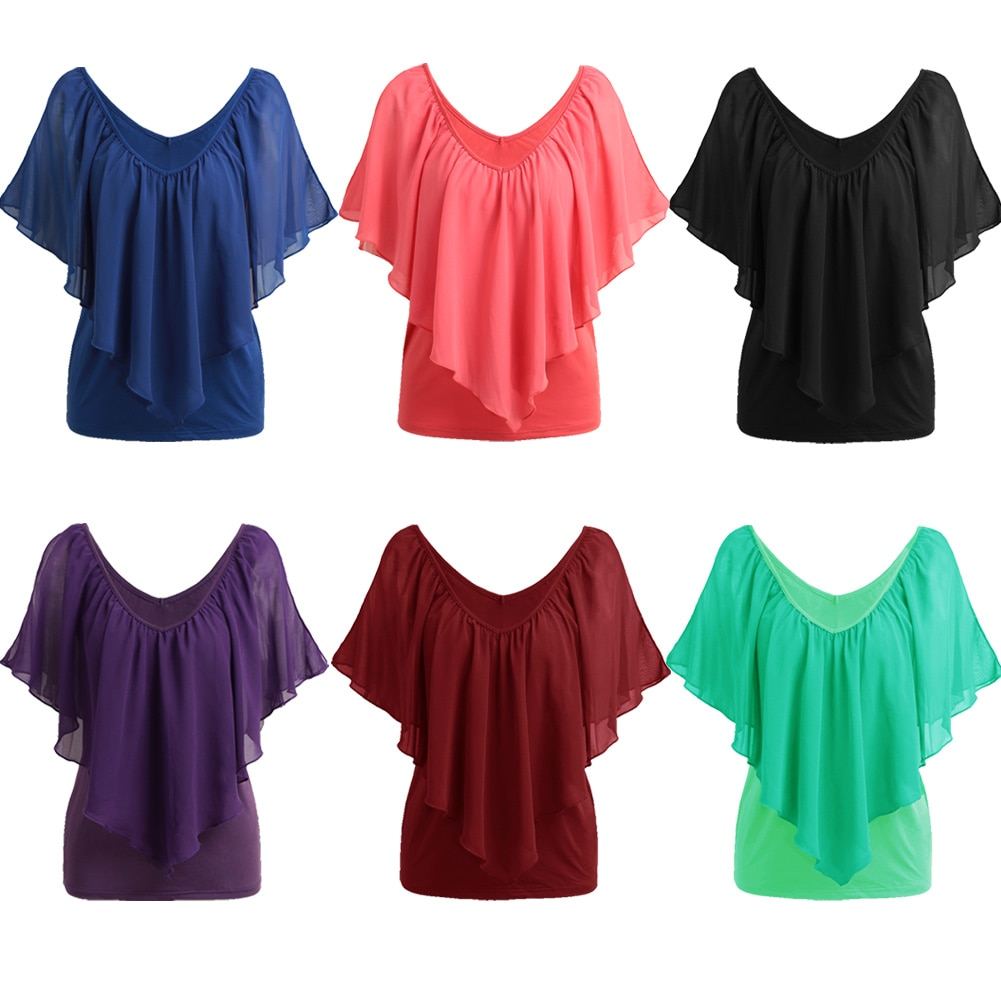 Summer Sexy Plus Size 3XL 4XL 5XL T-Shirt Women Tshirt Oversized T Shirt V Neck Vest Tank Ruffle Tops female Tunic tee shirt HOT
