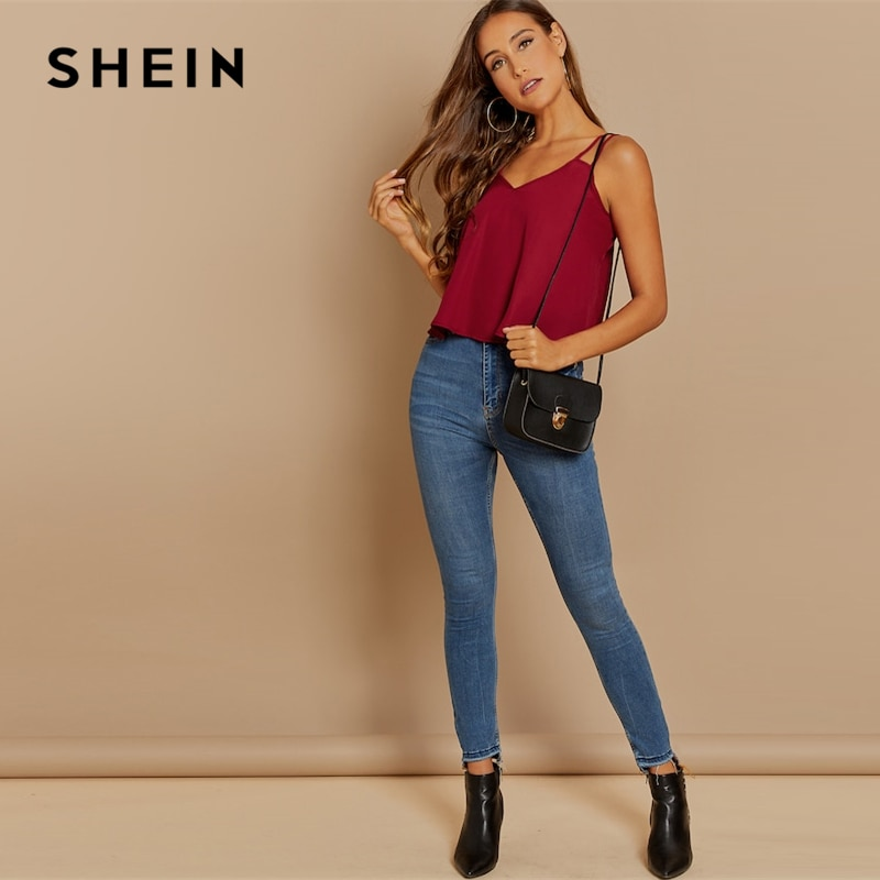 SHEIN Burgundy Casual Backless Solid Double Strap Cami Sexy Vest Top Summer Modern Lady Highstreet Women Vests
