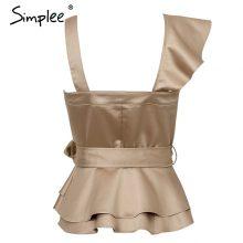 Simplee Sexy one shoulder irregular women camis tops Summer ruffle sashes khaki silk tanks blusas Elegant party female camisoles