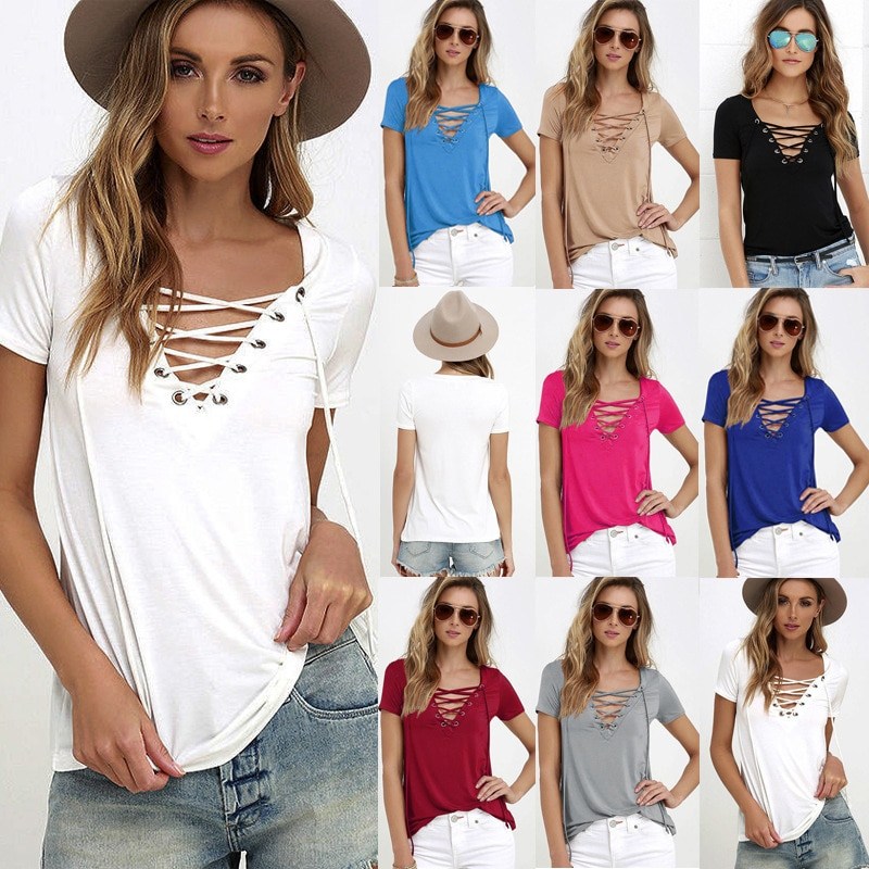 EMIR ROFFER 2018 Summer European Fashion Lace Up T Shirt Women Sexy V Neck Hollow Out Top Casual Basic Female T-shirt Plus Size